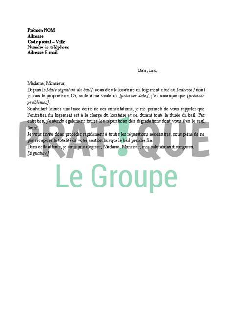 Documents Demander Au Locataire 886 by Lettre Demande De R 233 Parations Au Locataire Pratique Fr
