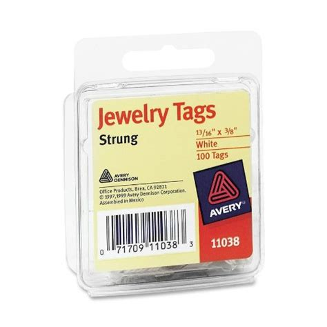 avery printable jewelry tags avery jewelry tags 11038 strung white 13 16 x 3 8