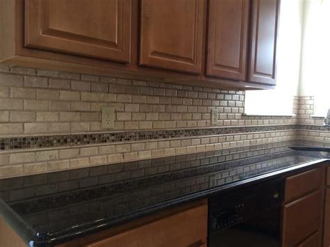 Mosaic Tile Kitchen Backsplash This Kitchen Backsplash Is Travertine Subway Tile With A
