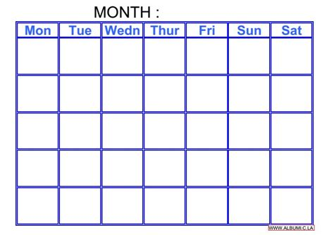 printable calendar grid search results for blank monthly calendar grid