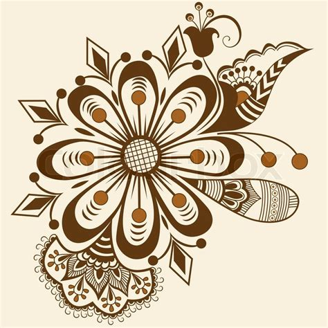 Total Home Decor Vector Abstract Floral Elements In Indian Mehndi Style