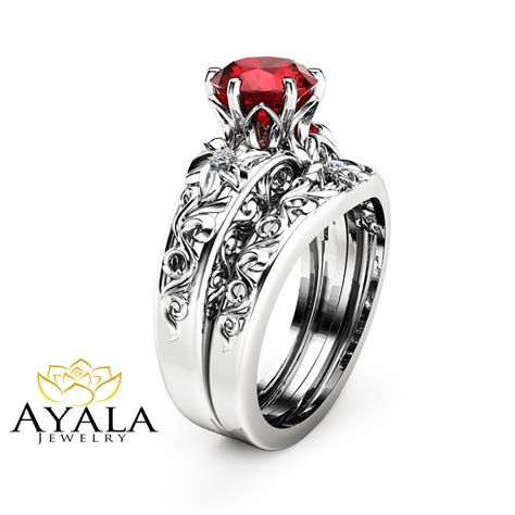Wedding Rings Ruby by Ruby Engagement Ring Set Wedding Ruby Ring With
