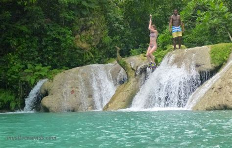 swinging in jamaica blue hole ocho rios jamaica take a leap out of your
