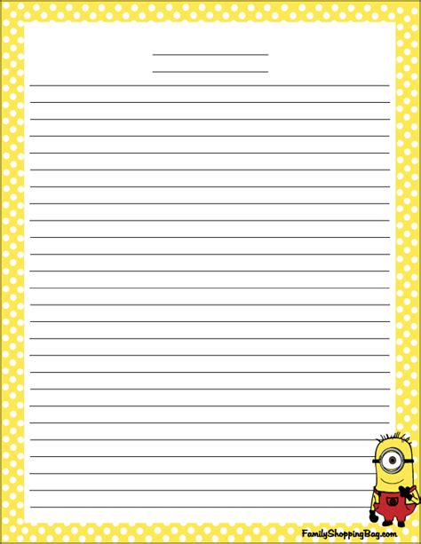 printable minion stationery free printables and activities from the animated movie