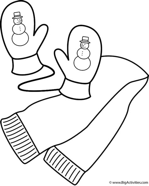 coloring pages of mittens and hats scarf and mittens coloring page clothing