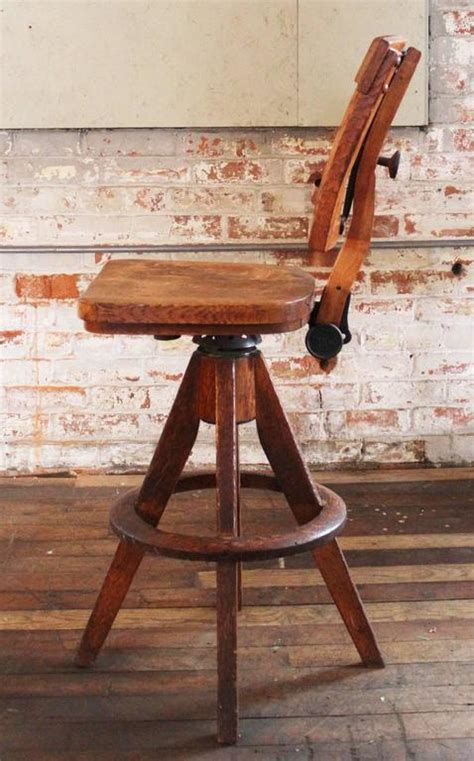 drafting bar stool vintage industrial wood and cast iron adjustable drafting