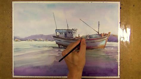 fishing boat on the beach watercolor painting fishing boat on the beach youtube