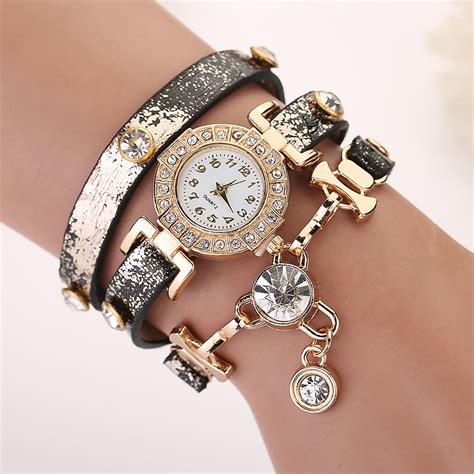 watch for girls beautiful collections women leather geneva bracelet quartz wrist watch crystal
