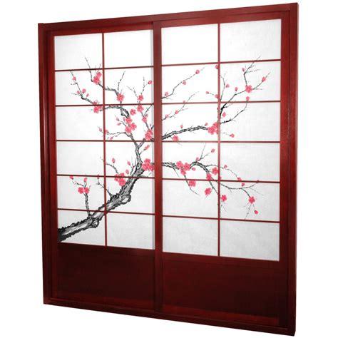 Bookshelf With Sliding Glass Doors Oriental Furniture Cherry Blossom Shoji Sliding Door Kit