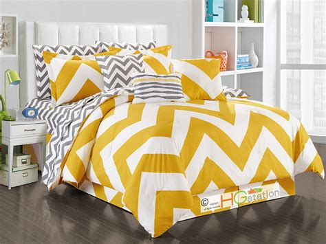 yellow and white chevron comforter 11 pc striated chevron zigzag reversible comforter sheet