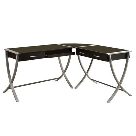 Corner Metal Desk 3 L Shaped Computer Desk In Cappuccino And Silver Metal I 7176