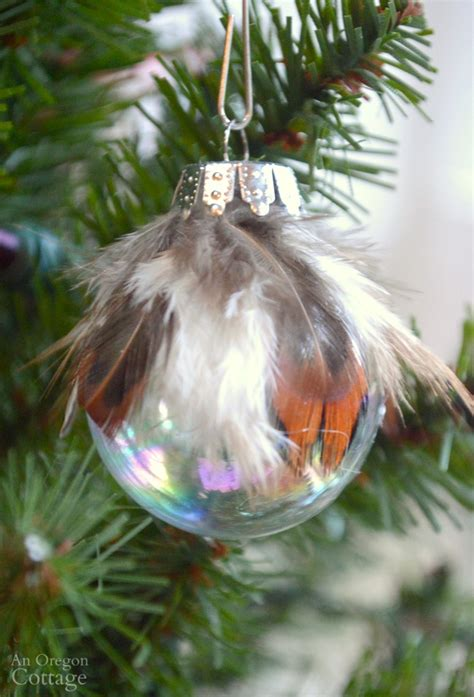 simple feather glass ball christmas ornament diy