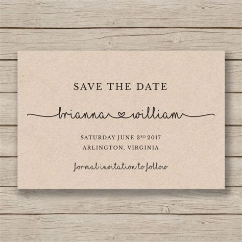 Svae The Date Card Templates by Save The Date Printable Template Diy Wedding Rustic