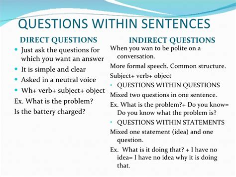 what is an ask english direct and indirect questions