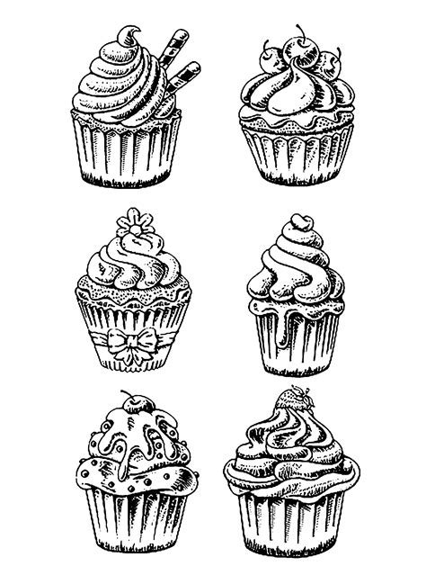 Six good cupcakes - Cupcakes Adult Coloring Pages