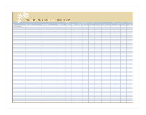 wedding guest list address template excel wedding