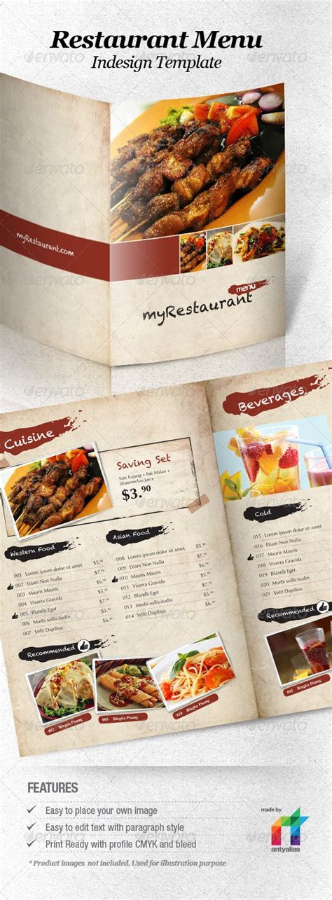 40 psd indesign food menu templates for restaurants