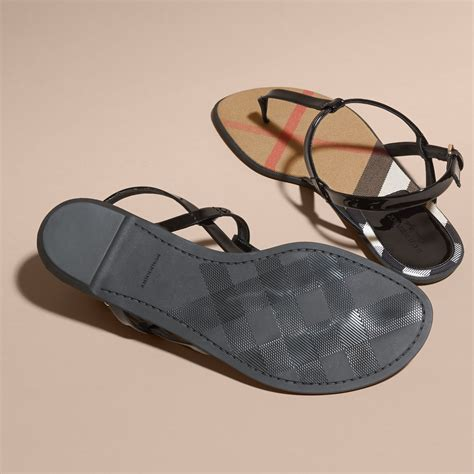 sandals check in house check lined leather sandals in black