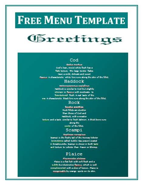 free menu template menu templates free