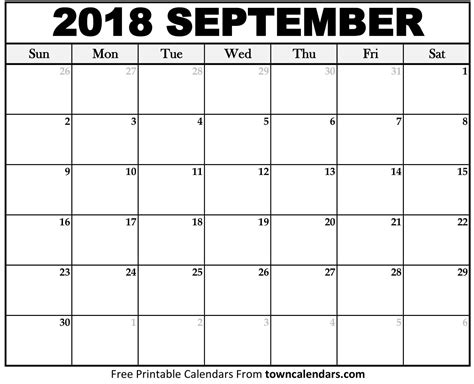 printable calendar september 2018 printable september 2018 calendar towncalendars com