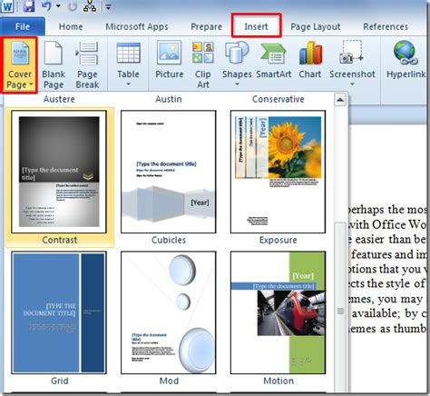 how to quickly insert page cover in word 2010 document
