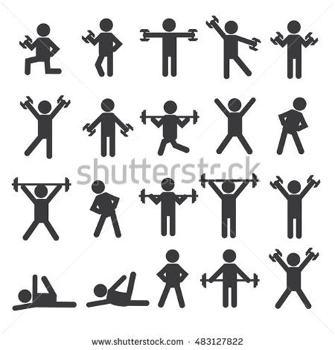 Stick Dumbell set active human pictogram different colors 스톡 벡터 181271189