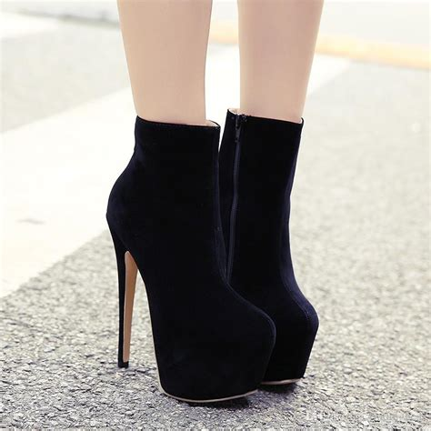 high heels boots 16cm ultra high heel ankle boots black patent leather