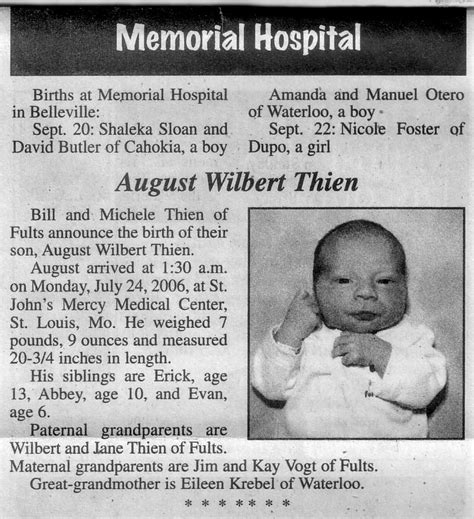 Times Record Birth Announcements Birth Announcements In The Times Birth Announcements Templates