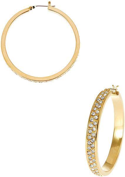 Allen Dons Gold Ribbed Hoop Earrings A La Hilary Duff by By Ralph Pave Hoop Earrings In Gold Lyst