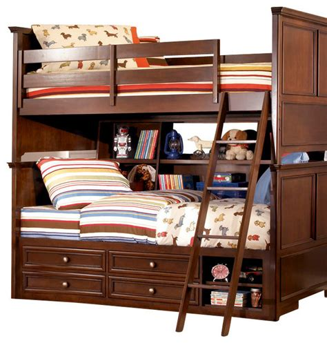 Lea Bedroom Furniture Lea Elite Covington 4 Bookcase Bunk Bed Bedroom Set In Cherry Traditional Baby