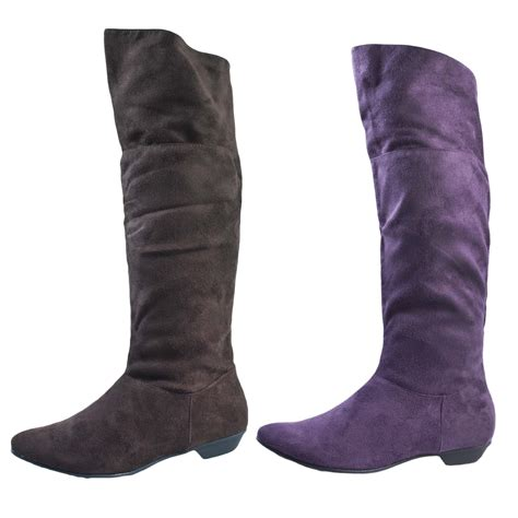 womens faux suede knee high boots flat wide calf