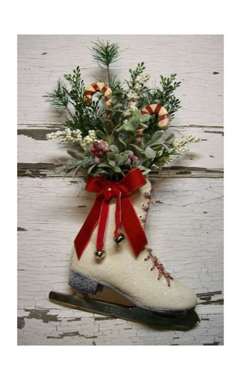 christmas ice skate christmas wreath door decor