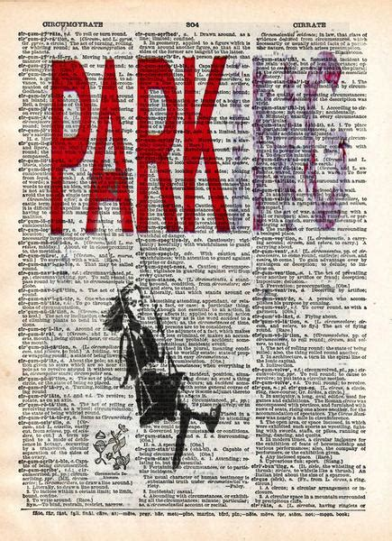 banksy parking girl swing banksy wall art parking girl on swing dictionary art