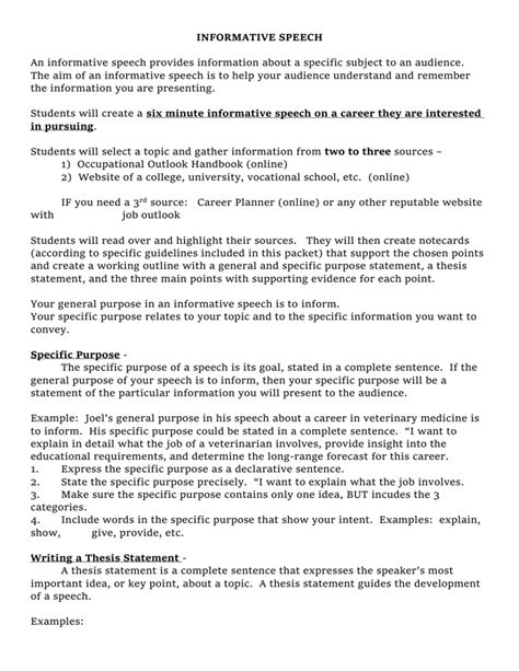 thesis statement in speech great exle thesis statement for informative speech