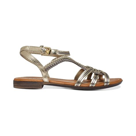 gold sandals for report gilly flat sandals in brown gold metallic lyst