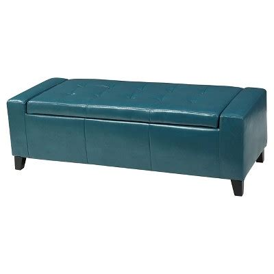 Teal Storage Ottoman Guernsey Faux Leather Storage Ottoman Bench Christopher Home Target