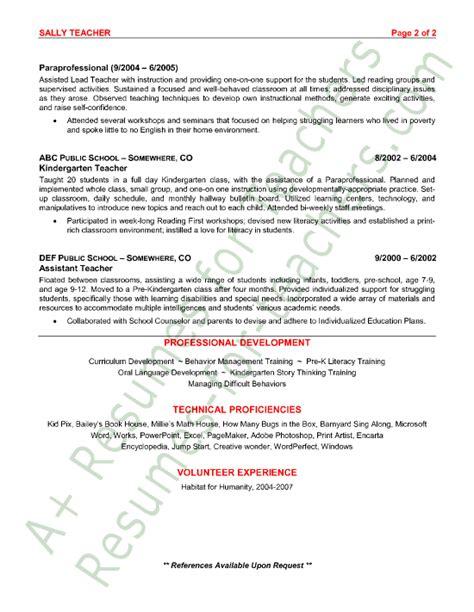 preschool resume sle and