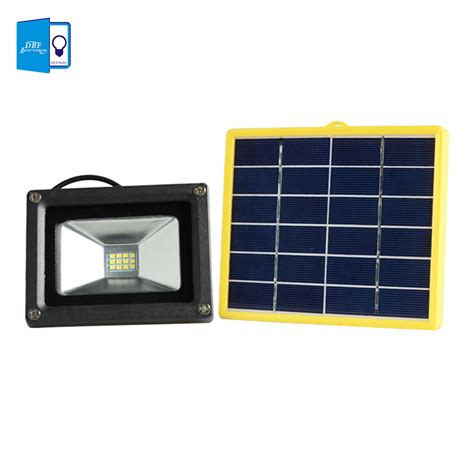 Dbf Waterproof 10w Solar Powered Led Flood Light With 5m Batteries For Solar Lights Outdoor