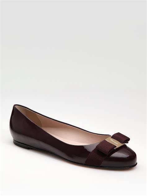 ferragamo shoes flats ferragamo varina patent ballet flats in oxblood lyst