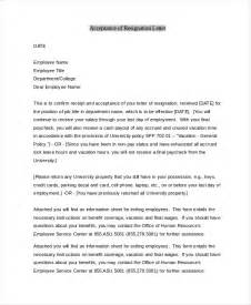 Letter To Accept Resignation by Sle Letter Of Resignation 9 Free Documents In Pdf Doc