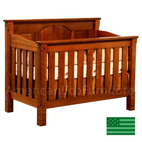 Wood Cribbing Design by Amish 4 In 1 Convertible Baby Crib Solid Wood