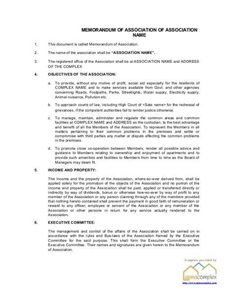 Template Memorandum Of Association Apartment Association Byelaws Template