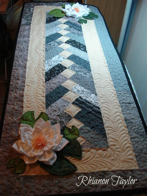 Table Runner by The Nifty Stitcher Table Runner With Water Lilies