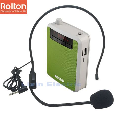 Portable Audio Waist Band Microphone Digital R Promo rolton k300 portable voice lifier waist band clip with fm radio tf mp3 player power bank for