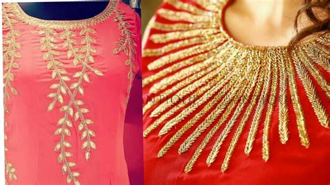 boat neck embroidery designs for kurtis neck design with simple hand embroidery very simple neck