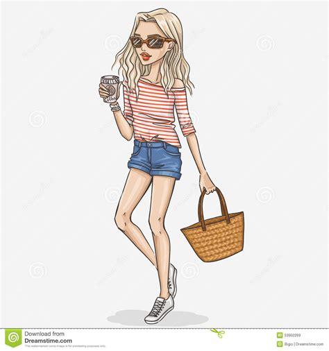 vector illustration of a stylish fashion girl illustration stock vector illustration of