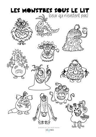 Coloriages : les monstres sous le lit - Momes.net