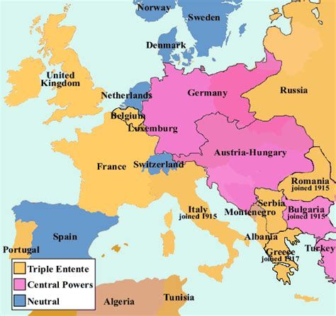 Map Of Europe Ww1 by First World War