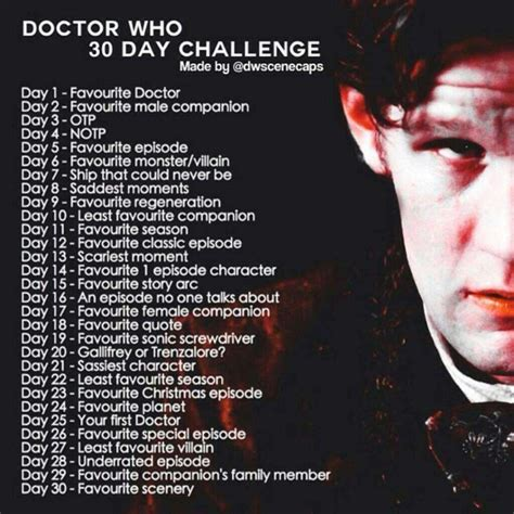 challenges of a doctor doctor who 30 day challenge doctor who amino