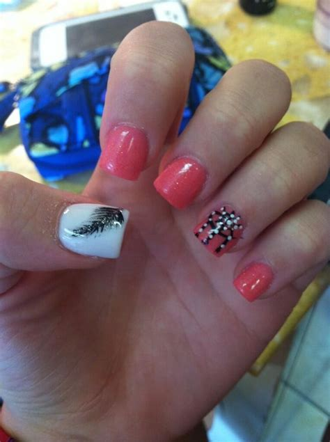 x pattern nails acrylic nail design feather dream catcher nails